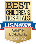 2021 US News and World Report Ranked in 10 specialties badge