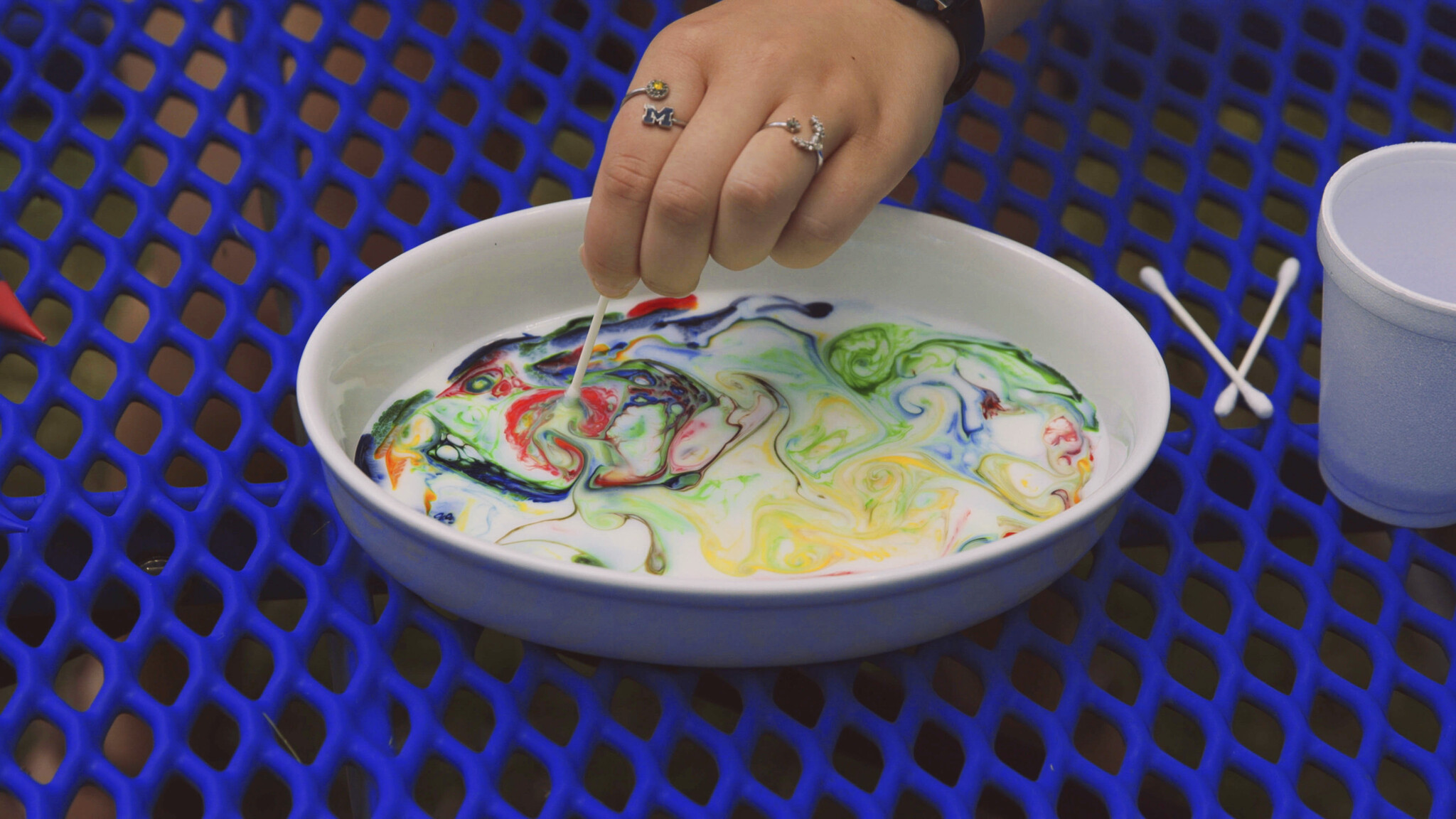 Color Swirling Milk Experiment