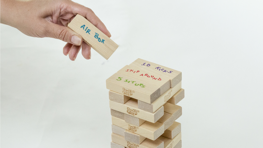 Jenga game for fitness