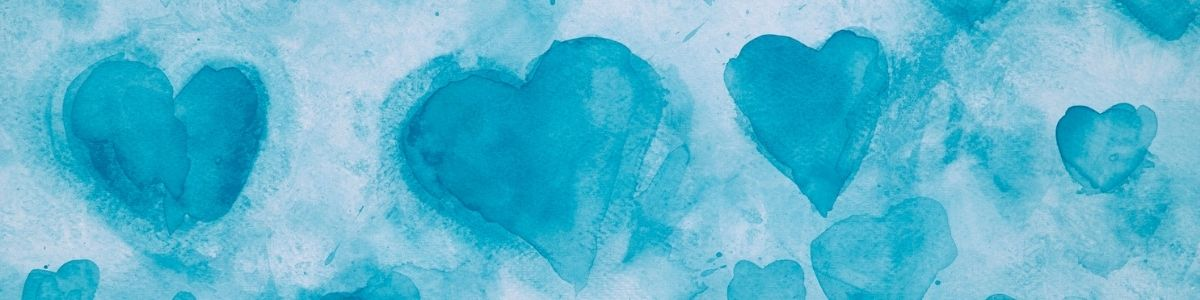 Watercolor of teal hearts on lighter teal background