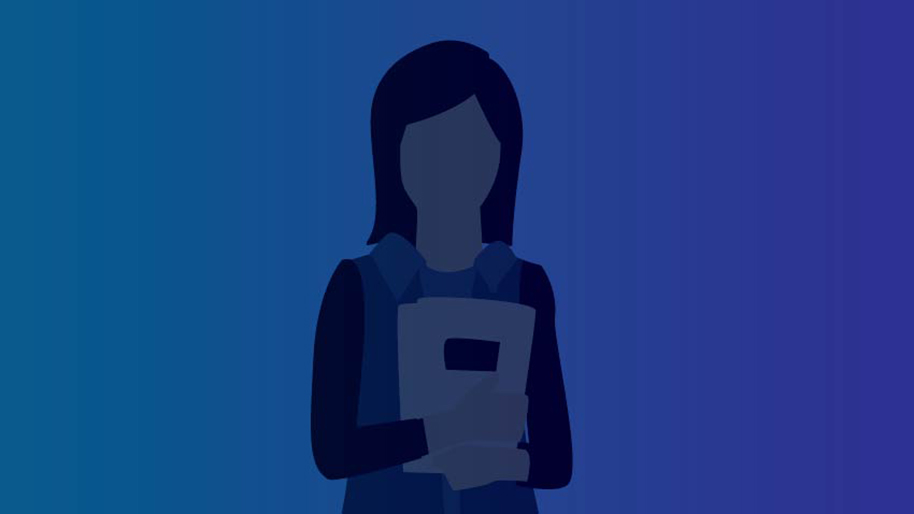 Graphic of a girl holding a text book on a blue background