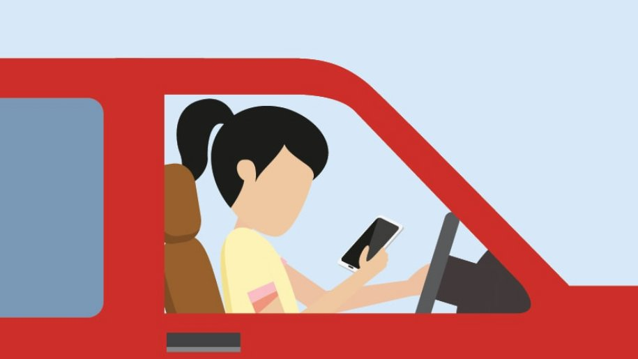 Graphic of a young girl looking at her phone while driving