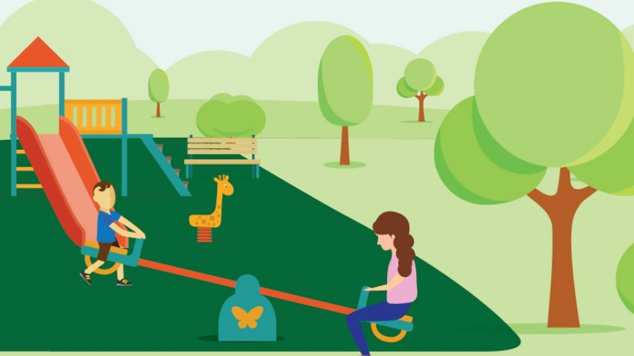Graphic of children on the playground