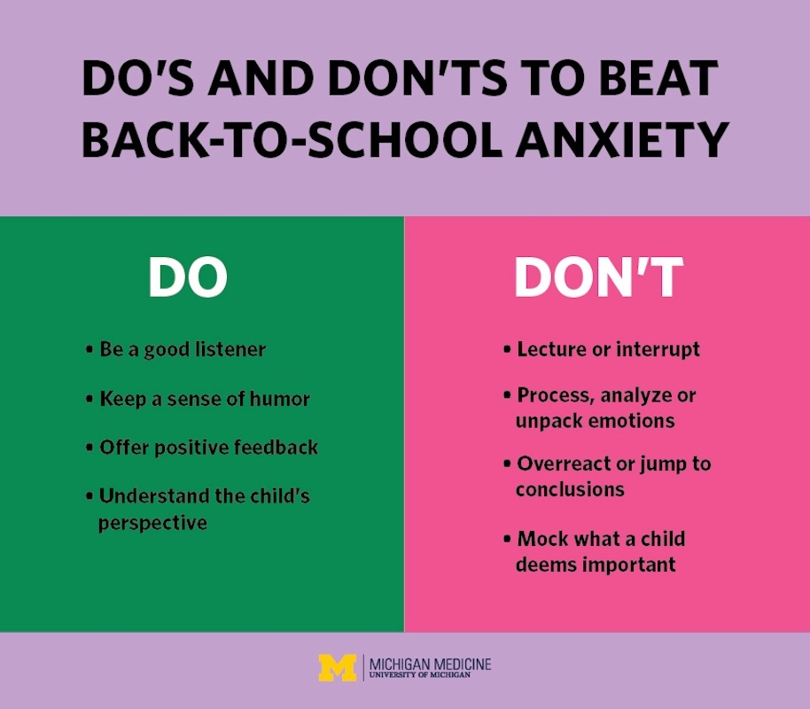 Infographic describing do's and dont's to beat back to school anxiety