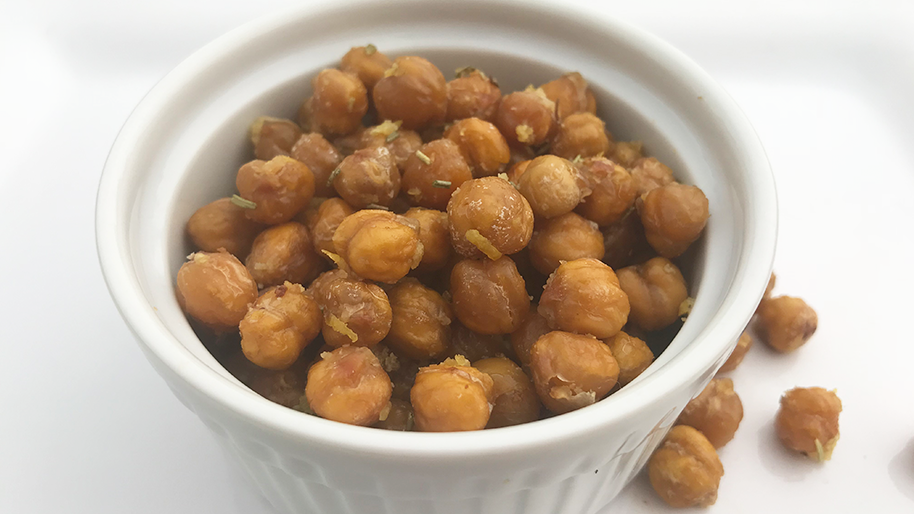 Roasted chickpeas in a white bowl