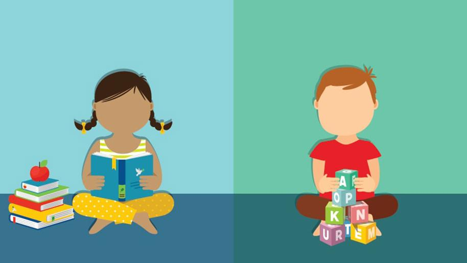 Graphic of a girl looking at school books and a boy playing with blocks