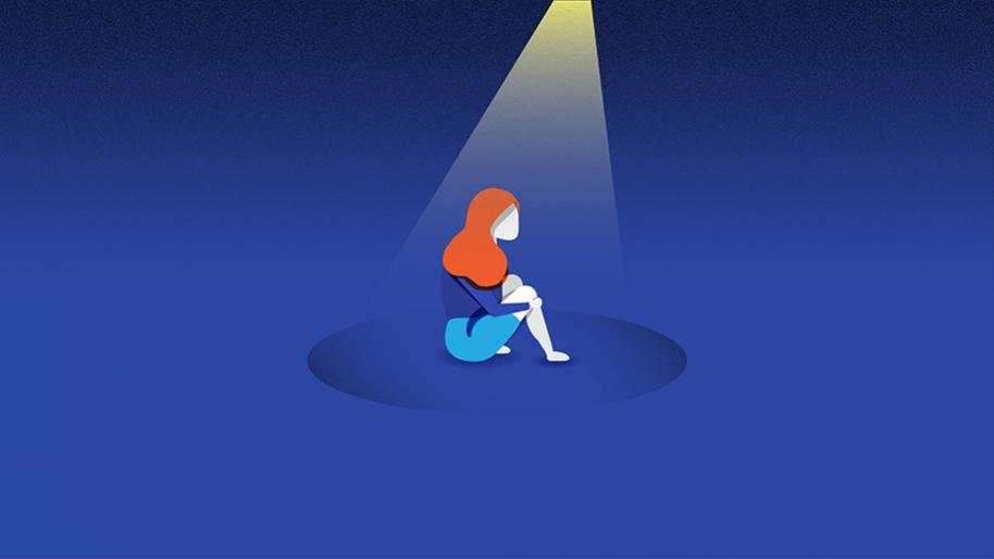 Graphic of a girl sitting in the center of a blue square with a spotlight shining on her.