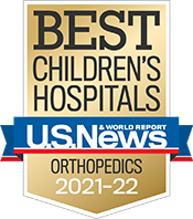 Pediatric Orthopedics U.S. News and World Report Badge 2021-2022