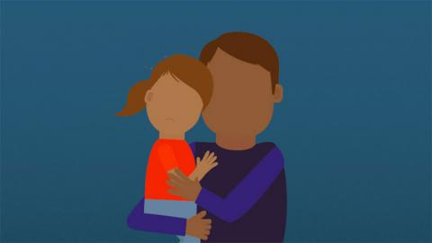 graphic of father hugging a child
