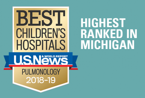The Pediatric Pulmonology program has been ranked #1 in Michigan and 23rd in the nation by US News & World Report