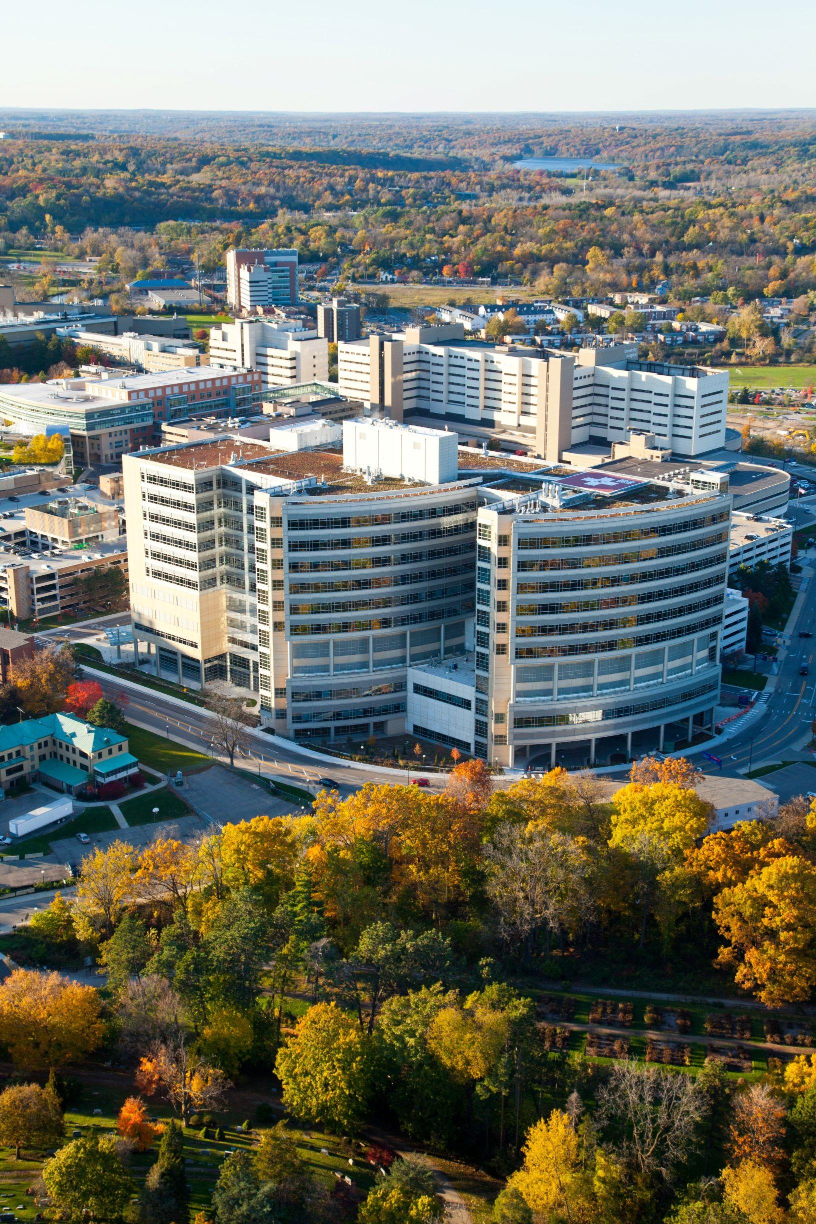 C.S. Mott Children's Hospital aerial shot