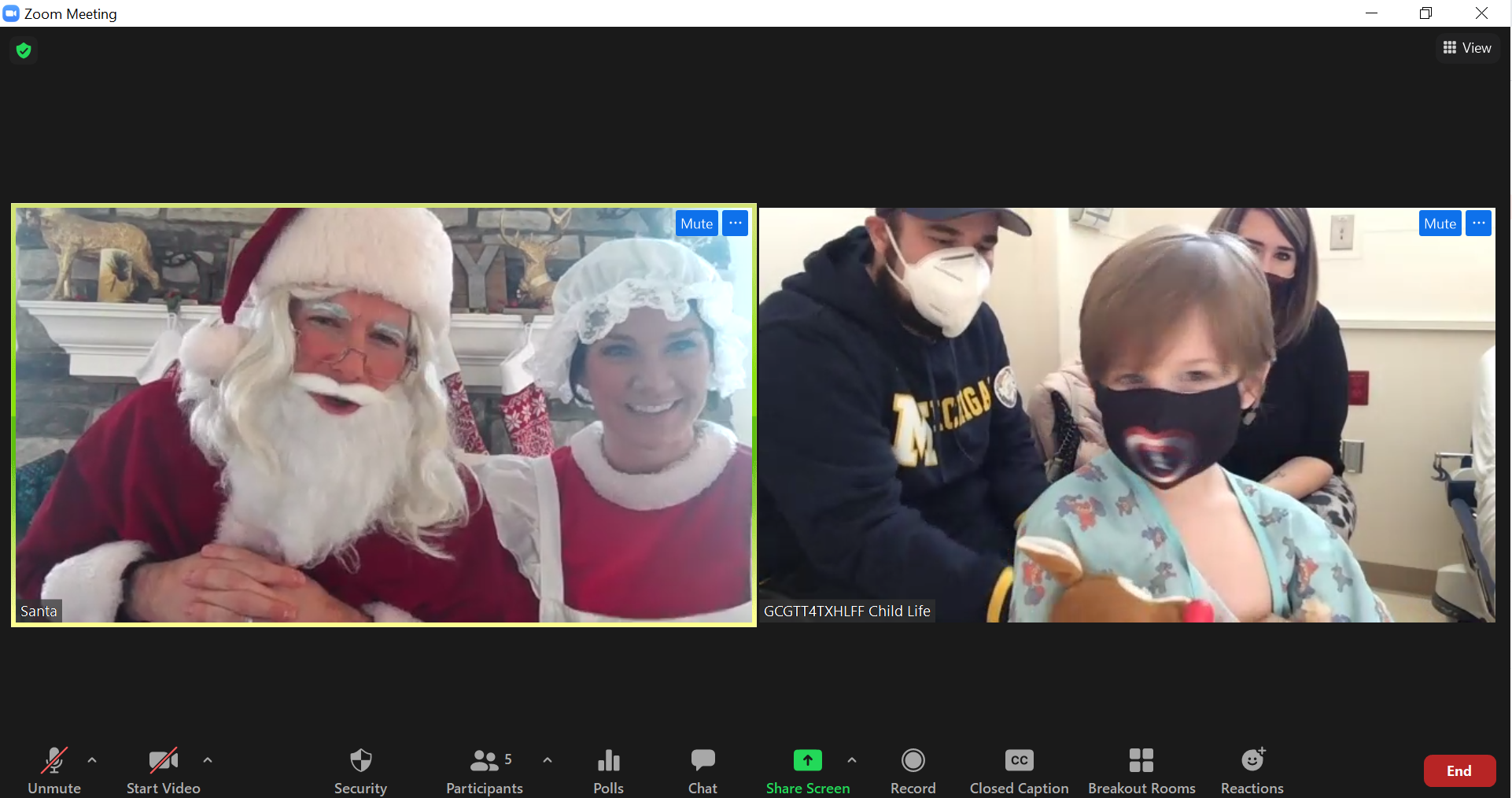 Virtual Santa visits at Mott