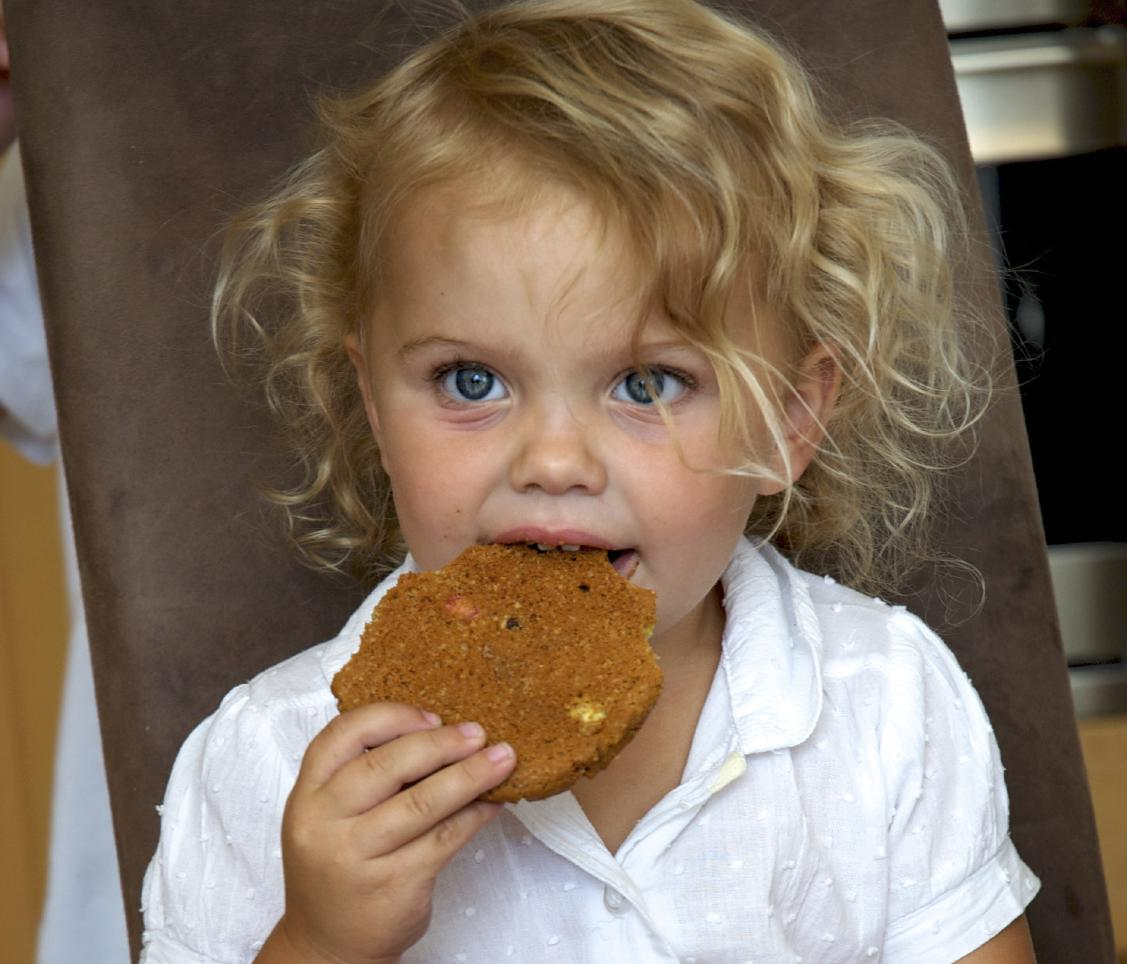Child eating cookie