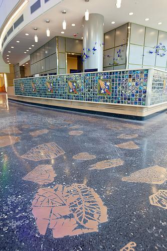 The bronze fossil floor at C.S. Mott Children's Hospital
