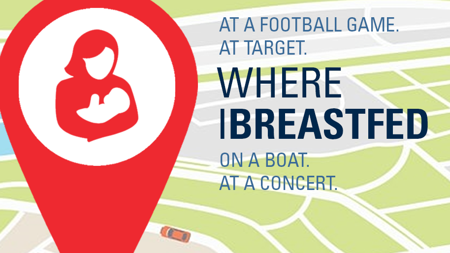Breatsfeeding logo with list of places where women breastfeed